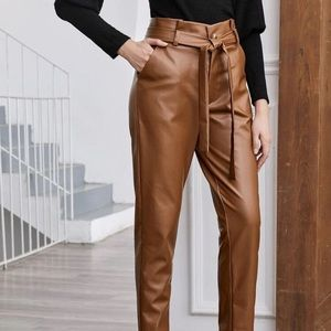Pants - Paper bag leather pants